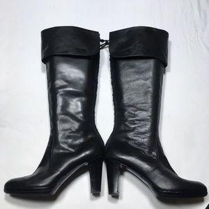 Lauren Ralph Lauren black leather heeled boots 9.5
